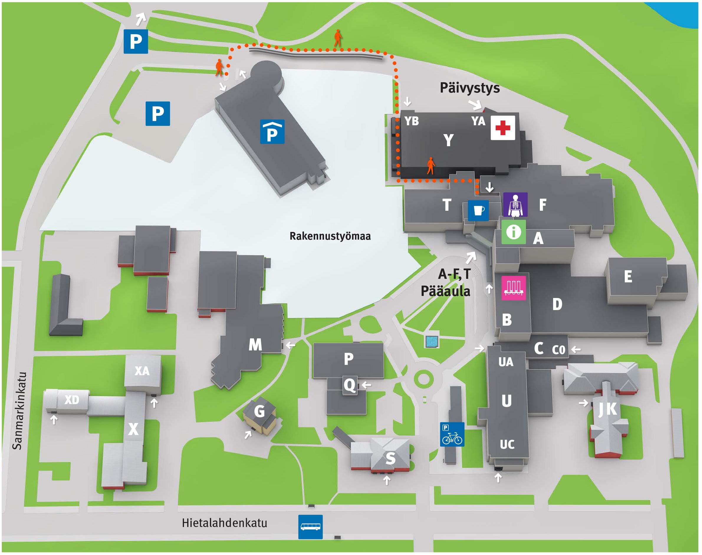 Sairaala Alue Hietalahdessa Kartta Vaasan Keskussairaala