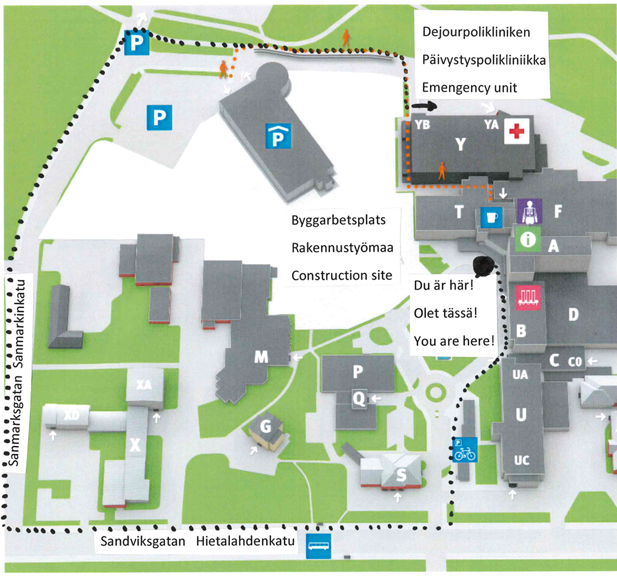 Map of the area at Vaasa central hospital and how to walk from main entrance to the corona testing site.